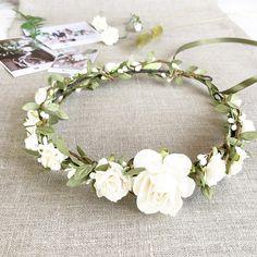 Flower crown, Bridal flower crown, White Ivory Floral crown, Wedding flower crown, Bridal floral crown, Leaf flower crown, Woodland Wedding