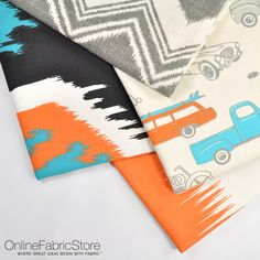 Fun turquoise, black, orange and gray Premier Prints fabrics perfect for decor in a little boy's room. Includes Ikat, chevron, cars and truck designs. Premier Prints, Truck Design, Fabric Wall Art, Ikat, Little Boys, Chevron, Fabrics, Turquoise, Touch