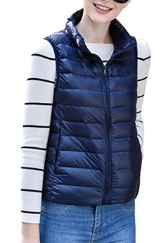 Womens Stylish Lightweight Packable Down Puffer Sleeveless Fall  Winter Vest Navy US MediumAsian 2XL -- Want additional info? Click on the image. (This is an affiliate link)