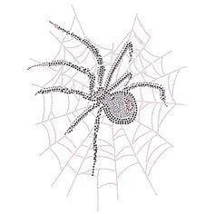 13x18  - Spider in Web (Stones / Studs) - Rhinestone, Rhinestud, spider, spider web, web, Bling, Material Transfer, Fashion