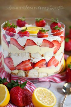This Lemon Strawberry Trifle is what dreams are made of! An easy, no bake trifle recipe that is loaded with fresh strawberries, angel food cake, and lemon pudding - sure to be the highlight of your party! Perfect for easy entertaining during spring and summer! // Mom On Timeout #ad