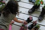 Recycle shoes in to Potting plants