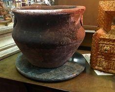 "Old Round Terra Cotta Pot   12"" Diameter x 10"" High   $95  #85923  Rick's Antiques and Home Decor, Dealer #36  White Elephant Antiques  1026 N. Riverfront Blvd. Dallas, TX 75207  Dallas"