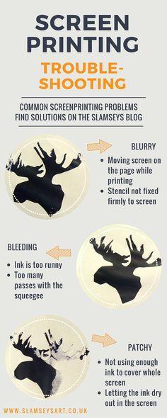 Common screenprinting problems - tips and solutions on the Slamseys blog for DIY screen printing www.slamseysart.wordpress.com #troubleshooting #printmaking