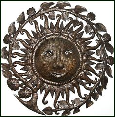 "Sun - Floral Border - Haitian Art Home Accent Wall Hanging - 34"" $159.95 -  Steel Drum Metal Art from  Haiti - Interior or Garden Décor   * Found at  www.HaitiMetalArt.com Metal Sun – Sun Wall Hanging – Sun Wall Decor - Haitian Metal Art, Recycled Steel Drum Art of Haiti, Metal Wall Decor - Handcrafted Metal Art  - Haitian Art – Haitian Steel Drum Metal Art – Metal Wall Hanging – Metal Wall Art of Haiti - Haiti - Metal Art - Haitian  Home Décor -"