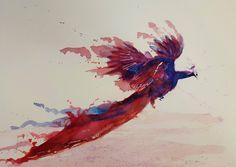Phoenix peacock by Joshua Stringer. http://jqstringer.com/work/#/watercolor/