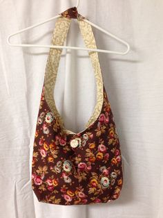 Handmade Cotton Hobo / Sling Bag / Purse Brown & Tan on Etsy for $19.95