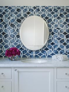 great tile in bathroom overlapping ovals