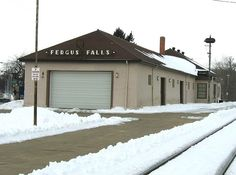Fergus Falls, Minnesota railroad depot built by the Great Northern Railroad in 1897. Now used by Otter Trail Valley Railroad (RailAmerica)