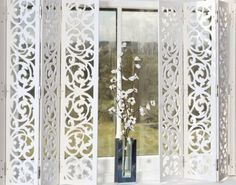 decorative shutters - idea - could cut this design into paper and modge podge onto plexiglass to make the shutters Metal Shutters, Interior Shutters, Window Shutters, Blinds For Windows, Curtains With Blinds, Windows And Doors, Interior And Exterior, House Shutters, Valance