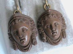 Antique Victorian Carved Lava Cameo Female Heads 9ct Gold Earrings | eBay..