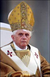 Pope Benedict XVI led the Corpus Domini procession from the Basilica of St. John's to the Basilica of St. Mary Major in Rome in Rome, Italy on May 26th, 2005.