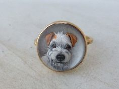 Fine rare Victorian Essex Crystal 15ct gold Dog ring