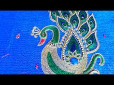 # Peacock Hand embroidery design by Angalakruthi Bangalore boutique - YouTube