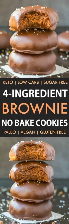 No Bake Brownie Batter Cookies (Low Carb, Keto, Vegan, Paleo, Sugar Free)- Make these quick and easy healthy no bake cookies which need just 4 ingredients and take 5 minutes! Low carb…More 8 Indulgent Keto Diet Friendly Cookie Recipes Healthy No Bake Cookies, Easy Cookie Recipes, Keto Cookies, Healthy Sweets, Healthy Baking, Baking Recipes, Dessert Recipes, Brownie Cookies, Dinner Recipes