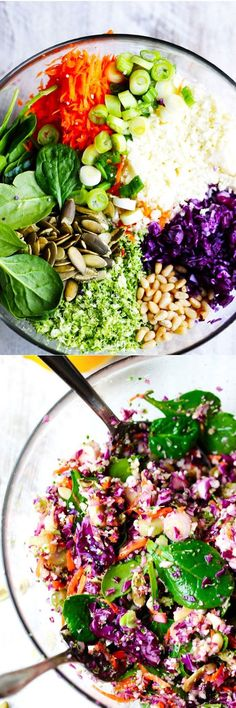This perfect detox salad combines amazing cruciferous vegetables like: cabbage, broccoli, cauliflower with carrots, spinach, green onions, seeds and nuts. Topping it a with Meyer lemon and some olive oil dressing makes for a perfect salad that will rejuvenate and detoxify you.
