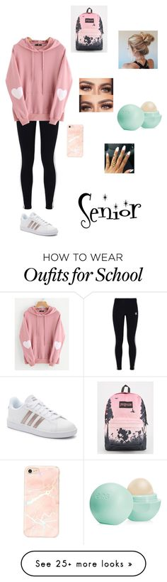 """""""12 weeks left of High School!:)"""" by one-and-only-marlee on Polyvore featuring adidas Originals, WithChic, adidas, JanSport and Eos"""