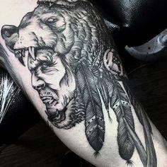 Black Grey Native American Man In Beast Tattoo For Guys