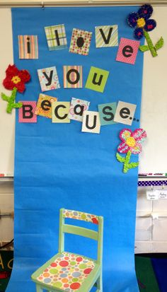 Our Mothers Day backdrop! Students held a sign saying why they loved their mother:)