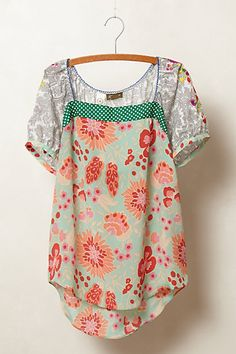 anthropologie mixed print top