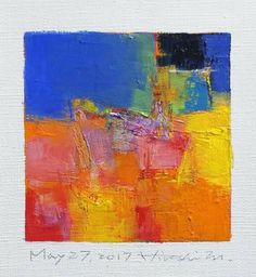 "May 27, 2017 9 cm x 9 cm (app. 4"" x 4"") oil on canvas  © 2017 Hiroshi Matsumoto"