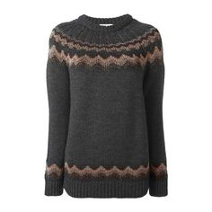 RED VALENTINO Zig-Zag Intarsia Sweater (£385) ❤ liked on Polyvore featuring tops, sweaters, grey, grey top, gray sweater, red valentino top, metallic sweater and red valentino sweaters