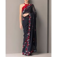 Embroidered Midnight Blue Sari with Red Blouse