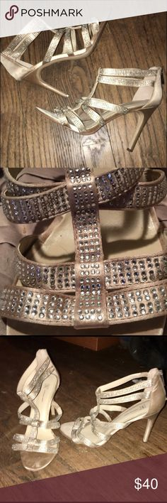 Beautiful gold tone w/crystal heels size 9 Beautiful gold tone he'll have a crystal covering the strap. Size 9 INC International Concepts Shoes Heels