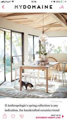 Anthropologie's Top Trends for Spring Al Fresco Dinner, Patterned Furniture, Bold Wallpaper, Anthropologie Home, Home Catalogue, Spring Home, Organic Shapes, Swivel Chair, Home Collections