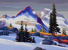 'Spring at Mamquam Mountain' x Oil on Canvas by Nicholas Bott Canadian Painters, Canadian Artists, Art And Illustration, Landscape Art, Landscape Paintings, Guache, Mountain Art, Mountain Paintings, Tree Art