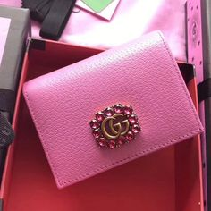 Best Reps Lux Handbags online Gucci Leather Card Case with Double G and Crystals 499783 Pink 2018 - Gucci Outlet Online, Gucci Bags Outlet, Gucci Handbags Sale, Cheap Handbags, Handbags Online, Luxury Handbags, Purses And Handbags, Gucci Wallet, Purse Wallet