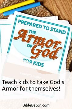 When you teach the Armor of God, you could potentially change your kids' lives forever. And this Leader's Guide will give you everything you need to do it: 6 printable lesson plans that are easy for you to teach; creative Intro Activities for each lesson, so you can catch your kids' interest right away; and review questions & Application Activities for each lesson. Perfect for Sunday School, children's ministry, or VBS! Click through for more info. Family Bible Study, Bible Games, Bible Lessons For Kids, Armor Of God, Object Lessons, Hands On Activities, Sunday School, Teaching Kids, Ministry
