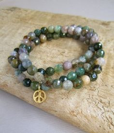 Green Agate Beaded Stretch Bracelet Set of 3 by julianneblumlo, $58.00