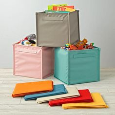Canvas bin from land of nod - smaller than Drona bins from Ikea but these come in red.