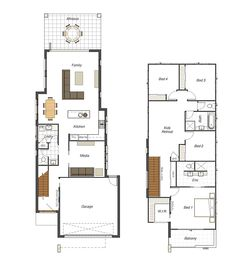 Home design home and design on pinterest for Narrow block duplex designs