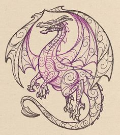 Doodle Dragon   Urban Threads: Unique and Awesome Embroidery Designs