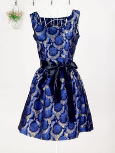 Vintage Square Neck Gold Thread Embroidery Sleeveless Polyester Dress For Women (BLUE,L) | Vintage Dresses
