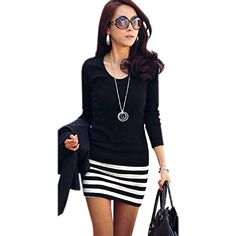 04c0593df1 Tonsee Women Sexy Long Sleeve Striped Slim Dress (S)