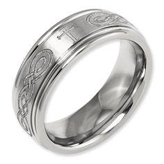 Gembrooke Creations Womens Cobalt Chrome 8mm Laser Engraved Cross Wedding Band Ring