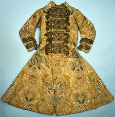 Yellow brocaded frock coat, English or French, c. 1725. Probably worn by Sir William Morgan, Lord Tredegar.