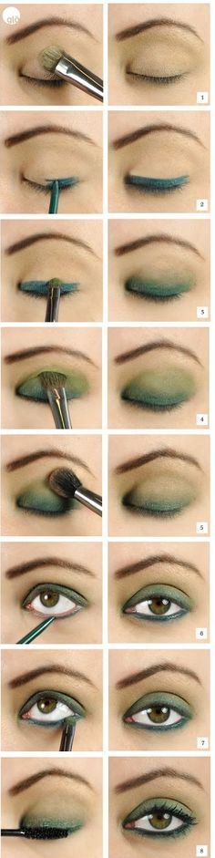 Step by step makeup number 3. Light evening makeup in green shades