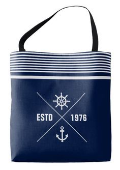 Blue Nautical Bag with Anchor, Ship's Wheel Label | Navy blue and white stripes and anchor / ship's wheel label on navy blue bag. For all sailors and everyone who loves nautical fashion. #nautical #accessoires #decor #fashion
