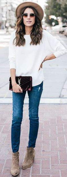 #september #trending #outfits | Tan Hat + White Top + Denim