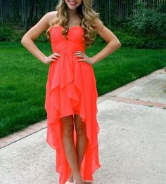 New Arrival Lovely High Low Coral Prom Dresses,High Low Prom Dresses,Chiffon Homecoming Dresses,Long Back Front Short Homecoming Dress