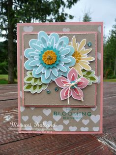 Megumi's Stampin Retreat, Stampin' Up! Flower Patch Stamp Set, Flower Fair Framelits, Hearts & Stars Decorative Mask
