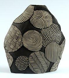 Larry Halvorsen. Black, white patterns, designs, pottery, handmade.