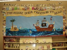 Change a few things and you have a cool board for Speak like a pirate day is in September. Library Signs, Library Themes, Library Displays, Classroom Displays, Reading Corner Classroom, New Classroom, Classroom Themes, Teach Like A Pirate, Preschool Bulletin
