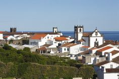 Houses and churches in the town of Vila Franca do Campo Sao Miguel, Azores, Portugal ... News Photo 175267348