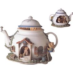 Enesco Illuminated Animated Mice Vintage Music Box Teapot Bungalow Original Box