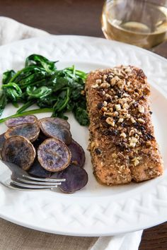 Recipe: Pecan-Crusted Salmon with Sautéed Greens & Potatoes